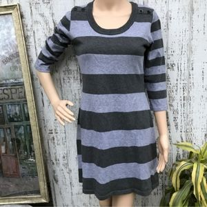 Women's/Jrs Pink Rose Grey Striped Sweater Dress L